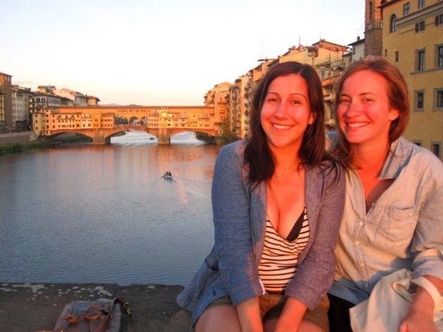 Ponte Santa Trinita and Ponte Vecchio at sunset
