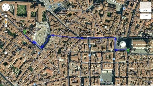 duomo to santa maria novella pharmacy walking map