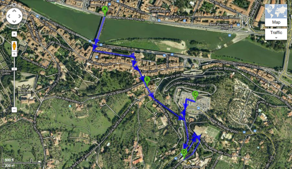 ponte alle grazie to san miniato walking map