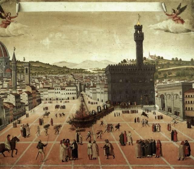 Execution of Savonarola in Piazza della Signoria, Museo di San Marco, Florence, 1498