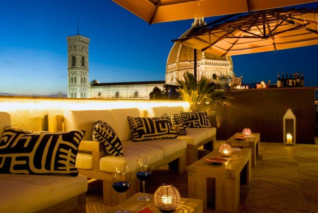 The terrace at Hotel Cavour