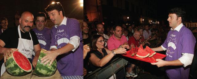 Matteo Renzi cutting and serving cocomero at San Lorenzo