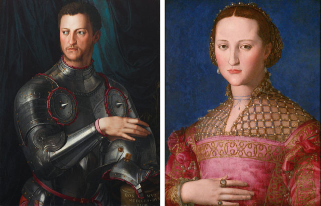 Cosimo and Elenora, both by Bronzino, 1545 and 1543