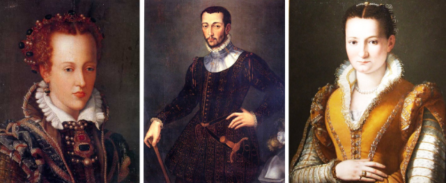 Johanna of Austria by Francesco Terizo, 16th c.; Francesco de' Medici by Unknown, 16th c.; Bianca Cappella by Alessandro Allori, 16th c.