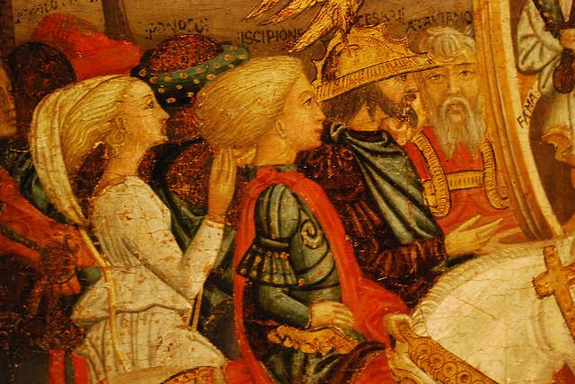"""Giovanni di Ser Giovanni Guidi, """"Triumph of Fame,"""" detail from a round chest, mid-15th c. Palazzo Davanzati, Florence by Francis Fletcher"""