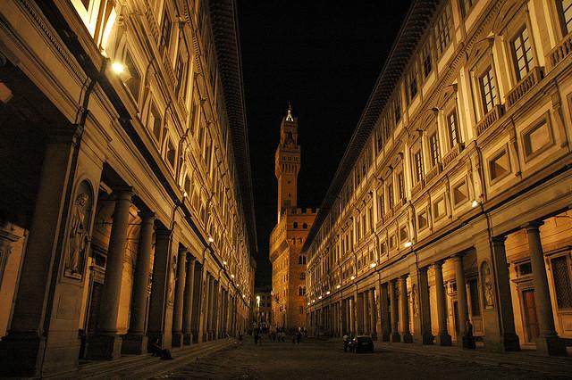 Galleria degli Uffizi at night by Norman Lee