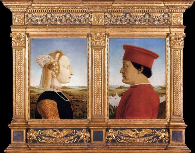 Piero della Francesca,Portraits of Federico da Montefeltro and His Wife Battista Sforza, 1465-66