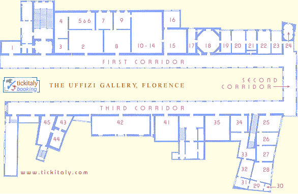 Map of the Uffizi, TickItaly.com