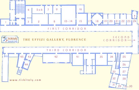 Map of the Uffizi, TickItaly.com