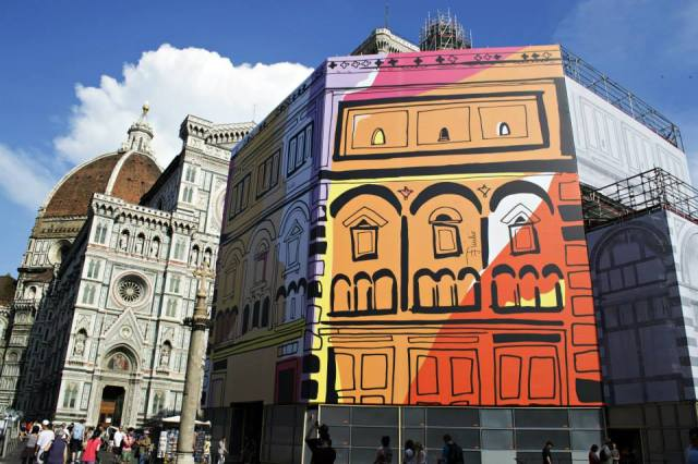 Emilio Pucci designs featured on Baptistry Scaffolding, photo from Facebook, The Florentine