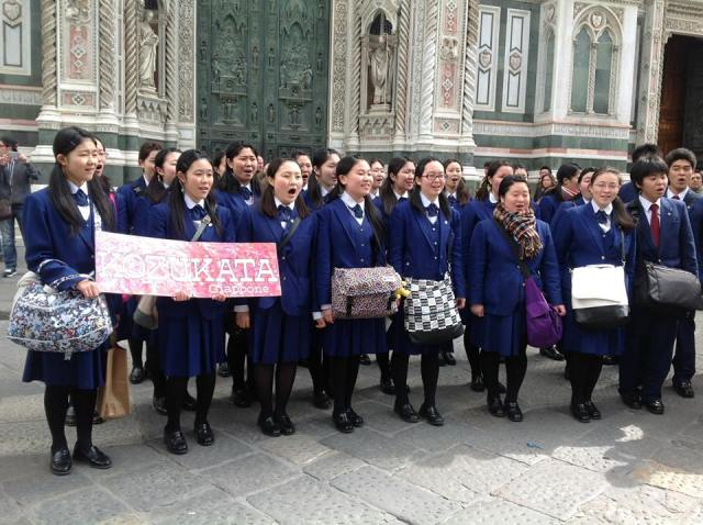 The Kozukata choir outside the Duomo during the 2013  Festival