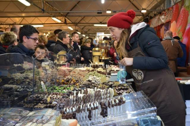 Checking out the inventory at last year's Fiera del Cioccolato