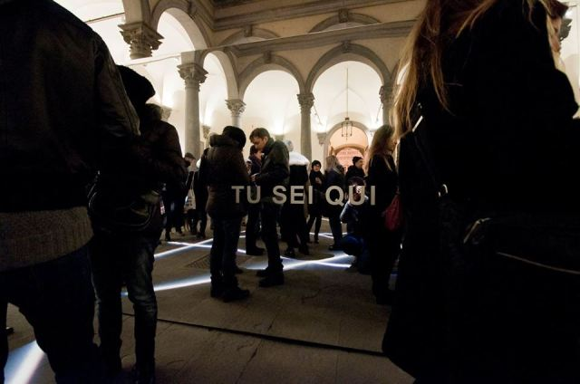 Tu sei qui by Bianco-Valente in the Palazzo Strozzi courtyard