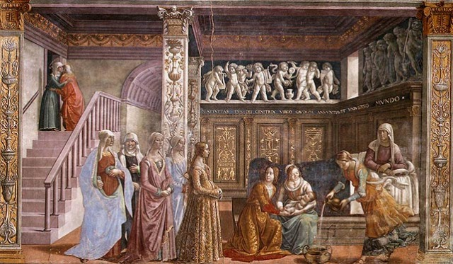 Ghirlandaio's Nativity of Mary, 1485-1490, from the Tournabuoni Chapel via the Opera per Santa Maria Novella