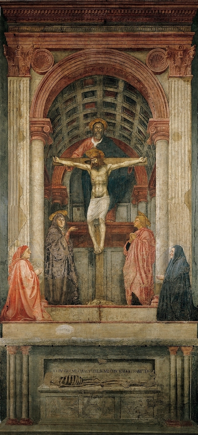 Masaccio's Holy Trinity, 1428 via Wikipedia